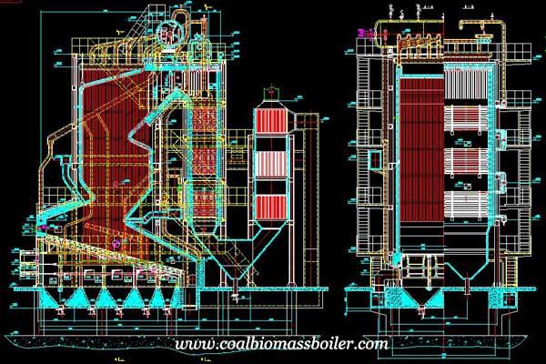2D design of biomass fired boiler power station