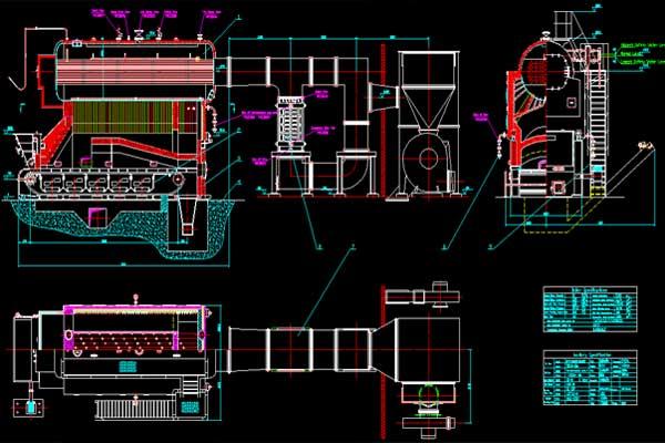 2D design of coal fired steam boiler system