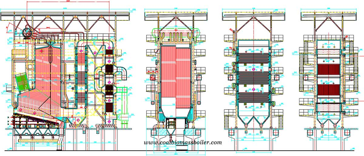 2D drawings of DHW biomass boiler