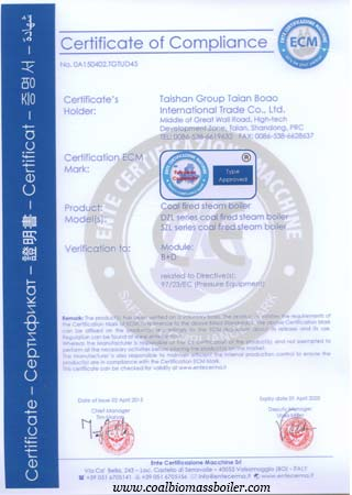 CE certification of coal fired boiler